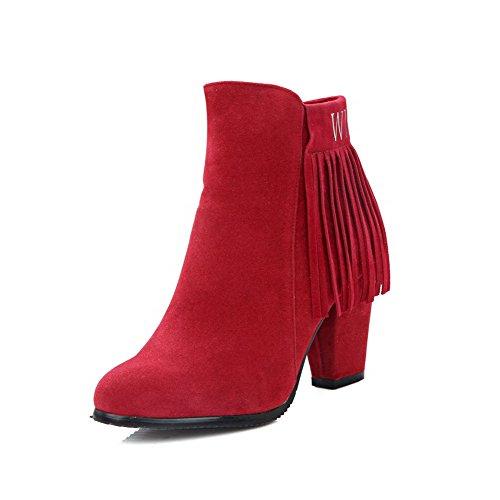 AgooLar Damen Niedriger Absatz Niedrig-Spitze Rein Reißverschluss Stiefel mit Metallisch, Rot, 34