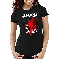 A.N.T. Cyberpunk Samurai Camiseta para Mujer T-Shirt silverhand Johnny Band, Talla:XL