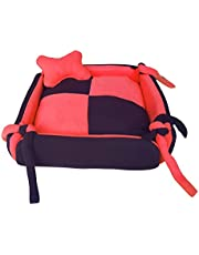 FLUFFY'S Luxurious Dog/Cat Bed Square Shape Super Soft Foam Reversible Red & Black - Large, Red, Large, 1347.16 g