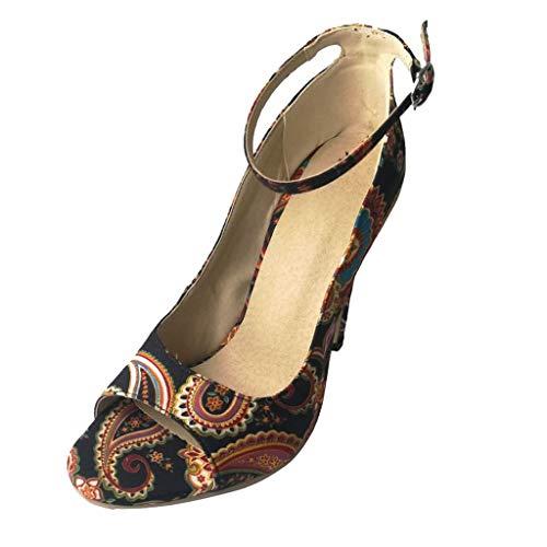 Damen Sandalen Peeptoe Pumps High Heel Sandaletten Absatz Keilabsatz Schuhe Peep Toe Elegant Sommerschuhe Keilsandaletten Hochzeit Retro Abendschuhe (EU:39, Schwarz)