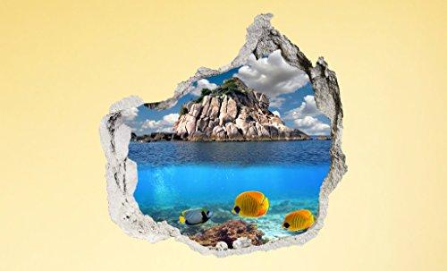 PROXTA Wandtapete 3D - Wall Magic 100 x 120 cm - UNDERWATER - Selbstklebende 3D-Tapete aus Vinyl Wand-Aufkleber Loch in der Wand Illusion Wandtattoo Wandsticker