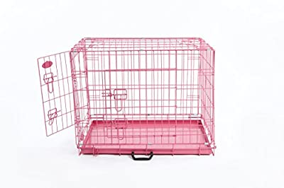"Pink Dog or Puppy Metal Training Cage Crate XL (Pink 42"" cage)"