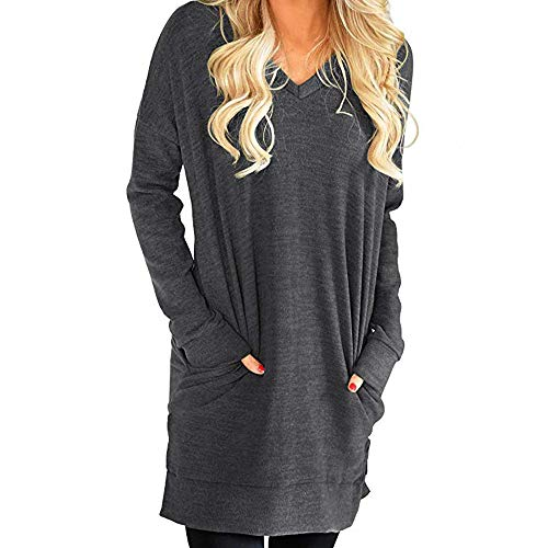 MERICAL Damen Casual V-Ausschnitt Langarm Tunika Langer Pullover Kleid Bluse(EU:44-46/CN:XL,Grau)