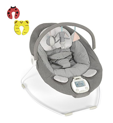 Mamas & Papas Baby Vibrating Musical Apollo Bouncer Grey Melange NEW 2018 DESIGN Chair – Suitable From 0-6 Months – Incs 2 Door Stoppers 41cQjrbd7 2BL