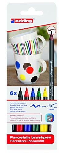 edding 4-4200-6 Porzellan-Pinselstift (auch für Glas und Keramik) - Standardfarben - Farb-Set mit 6 Farben - Porzellan-Brushpen zum Bemalen und Beschriften von Geschirr, Tassen und ofenfestem Glas - Fasermaler mit flexibler Pinselspitze: 1 - 4 mm