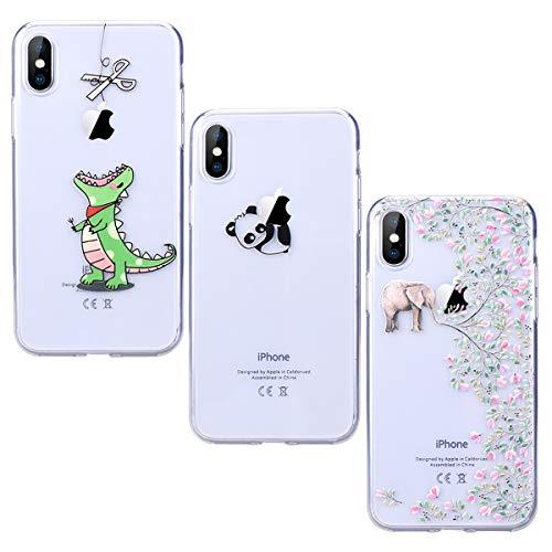 Yokata [3 Packs Funda iPhone X iPhone 10 Carcasa Silicona Transparente Case Ultra Slim TPU Gel Bumper Case Shock Protección Anti-Arañazos con Dibujos Case Cover - Greedy Dragon + Panda + Elephant