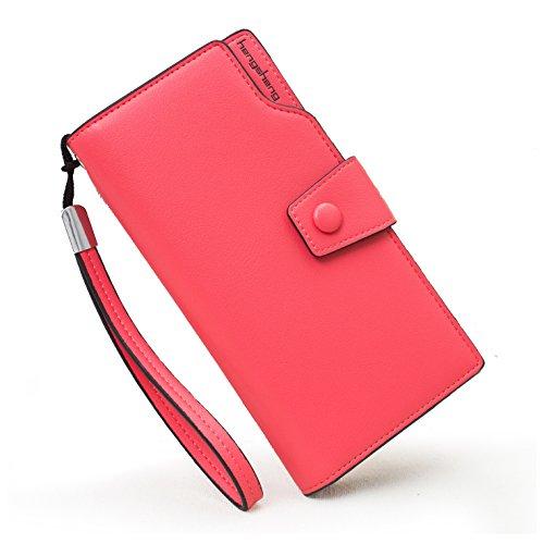 Mailo Moda Portafogli di pelle Pulsante Borsa Signora Lungo Da Donna Borsetta (Rosa) Rosa