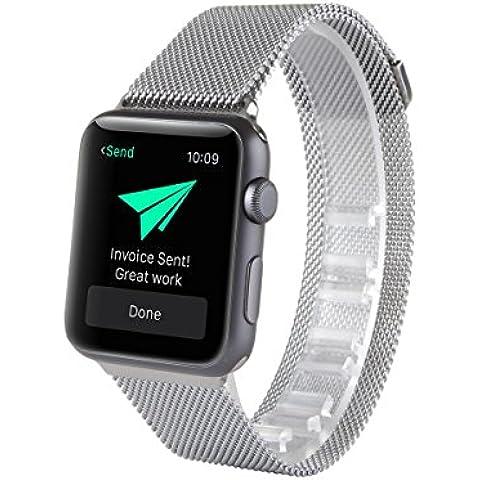 Para Apple reloj, with Unique imán Lock, Milanese Loop pulsera de acero inoxidable correa banda para Apple reloj No hebilla needed (38mm