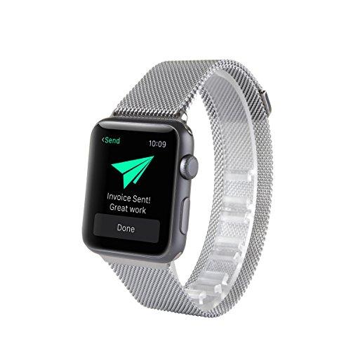 Chiusura magnetica per Apple Watch, con Unico, Milanese Loop in acciaio inox cinturino bracciale in acciaio per Apple Watch no fibbia necessario (38mm, silver)