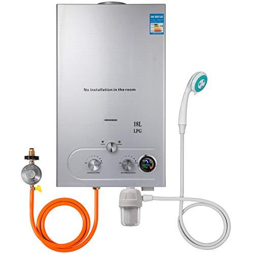 Hopopula Upgrade Typ 18L LPG Gas-Warmwasserbereiter ohne Tank mit Duschkopf Kit Wasserfilter & Gasregler(18L LPG) -