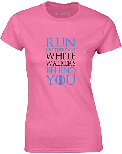 Brand88 - Run Like There Are White Walkers Behind You, Gedruckt Frauen T-Shirt Azalee/Schwarz