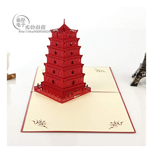 ZHOUBIN 2 fogli/set Carving and Hollowing Out 3D Cards/Greeting Cards/Regali di Natale Capodanno/Auguri di compleanno/Pagoda dell'Oriente Selvatico Orientale