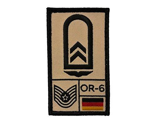 Café Viereck Oberfeldwebel Luftwaffe Bundeswehr Rank Patch mit Dienstgrad, Deutschlandflagge, NATO-Rang und US-Rank Gestickt mit Klett (Sand) (Nähen Rang)