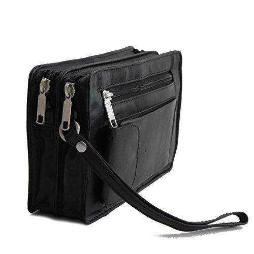 Bag Street Leder - exquisite Leder Herren Handgelenktasche , Herrentasche , Handtasche , Handgepäck-Tasche ( Braun - Doppelkammer ) - präsentiert von ZMOKA® Schwarz