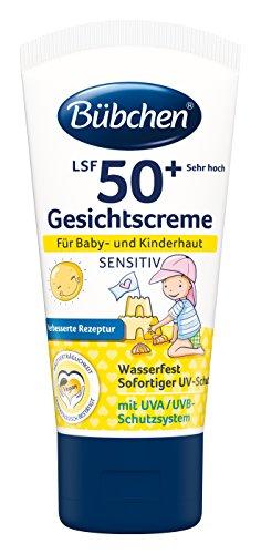 Bübchen Sensitiv Sonneschutz Gesichtscreme LSF 50+, wasserfest, hoher UV-Schutz für Kinder und Babys, für Körper und Gesicht, 50ml Tube, 4er Pack
