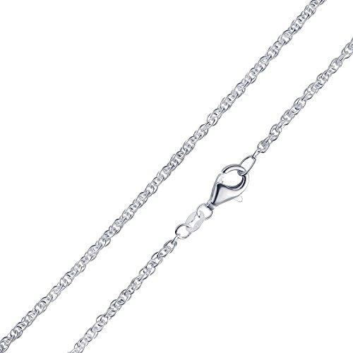 MATERIA Doppel Ankerkette Silber 925-2mm Damen Halskette Silber 5,0g in 40 45 50 60 70 cm #K41, Länge Halskette:50 cm