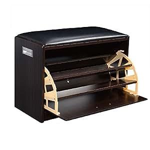 sitzbank mit schuhschrank sitztruhe schuhregal schrank aus holz schuh schwarz. Black Bedroom Furniture Sets. Home Design Ideas