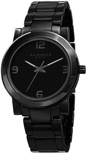 Akribos XXIV Herren Analog Quarz Uhr mit Keramik Armband AK744BK