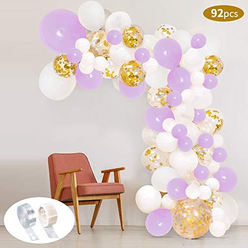 SPECOOL 92 Stück Latex Luftballons Perlweiß, Macaron Lila und Gold Konfetti Ballons Party Luftballons für Geburtstagsfeier Hochzeit Party und Baby Dusche Party, Festival Dekoration