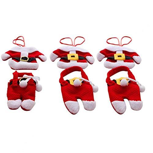 MaylFre 6 PCS Weihnachts Mini Weihnachtsmann Anzug Für Messer Und Gabel Geschirr Set Zierabdeckung Lagerung Ornaments Bestecke Bestecke Holders