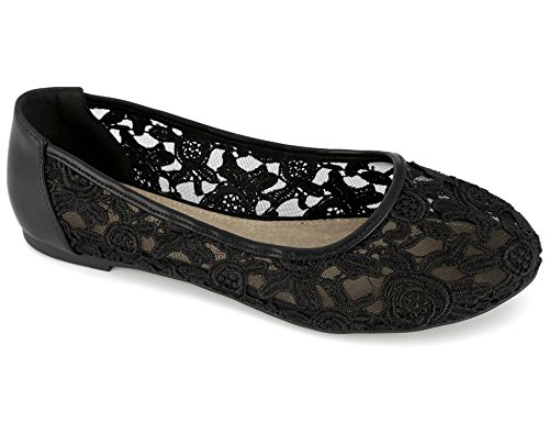 Greatonu Damen Geschlossene Ballerinas Spitze Flache Sandalen Übergrößen Schwarz Größe 38.5EU (Schwarzen Frauen Flache Schuhe)