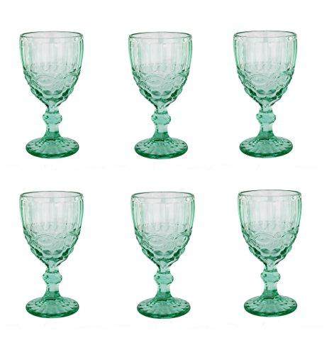 Vintage 6 Teile Set Schleife TURKIS König Trinkglas Glas Gläser Weingläser Wasserglas...
