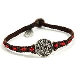 Macramé pulsera de plata con Sello de Salomón auténtico de hilo rojo y negro