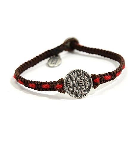 MIZZE Jewelry Wish Fulfillment Makramee-Armband für Damen mit Silber-Salomon-Siegel, authentischer roter Schnur