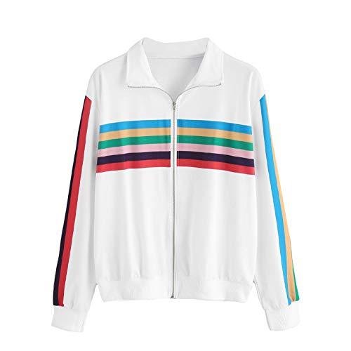 Jacke Damen Kurz Casual Gestreift Sweatjacke Pullover mit Reißverschluss Revers Langarm Übergangsjacke Elegant Herbst Winter Jacke von...