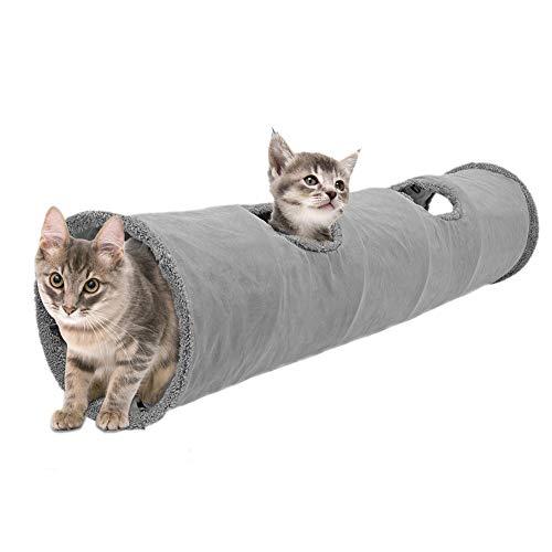 Hualieli Katzenspieltunnel Langes Zusammenklappbares Katzenspieltunnel-Loch Katzenzelt-Spielzeug Für Katzen Faltbarer, Fleecegefütterter Spieltunnel