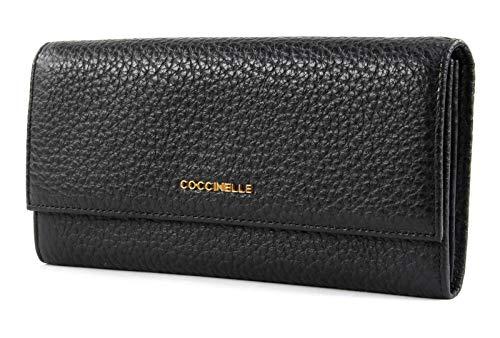 Coccinelle Metallic Bubble Flat Flap Wallet Noir