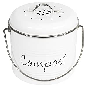 retro komposter wei er emaille finish k che haushalt. Black Bedroom Furniture Sets. Home Design Ideas
