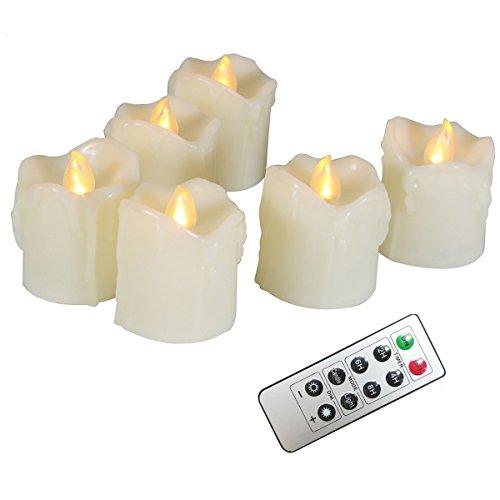 Erosway Flammenlose Kerzen, realistisch Flackernde LED Teelichter elektrische Kerzen, 300 Stunden Nonstop Leuchten mit Fernbedienung und 2/4/6/8 Stunden-Timer. Elfenbeinfarbe. 6 Stück/Paket - Laterne Fernbedienung