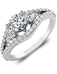 IskiUski White Gold And American Diamond Ring For Women - B075VH9QJB