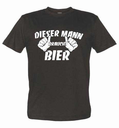 Fun T-Shirt mit lustigem Motiv DIESER MANN BRAUCHT BIER schwarz XXXL (Bier Trinken-shirt)