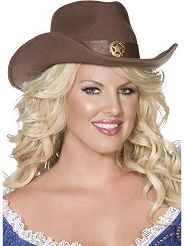 Luxuspiraten - Kostüm Accessoires Zubehör Damen Western Cowboy Cowgirl Hut mit Sherrif Stern, perfekt für Karneval, Fasching und Fastnacht, Braun
