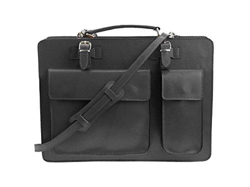 Aktentasche Lehrertasche Crown in diversen Farben | Echtes Leder Made in Italy | Umhängetasche (B40xH30xT10) Dunkelgrau