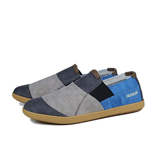 Mens Match Color Slip on Flat Heel Loafers Canvas Driving Low Top Comfort Shoes Grey US9\u002F9.5