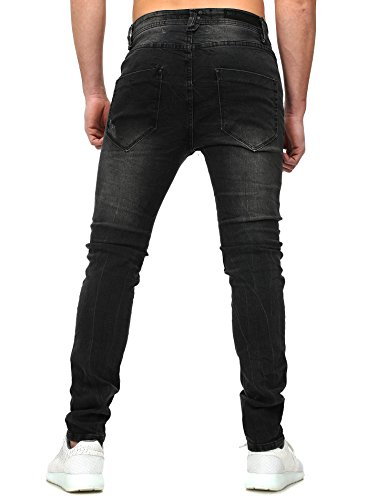 Sky Rebel Herren Slim Jeans verwaschen Vintage Look Destroyed Efffekte Five Pocket Stil Fit Schnitt Reißverschluss Denim casual basic Schwarz