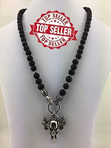 Halskette Y-Kette Rosenkranz Black aus Lava, für Herren Männer Schmuck schwarz mit oder ohne Anhänger, Totenkopf Skull Schädel Kreuz Perlenkette Bikerschmuck Rocker, Promi Style K77