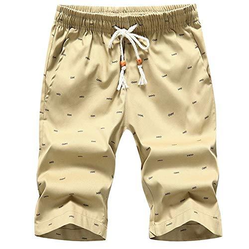 FJJBHSD Hosen Herren Strand Shorts 2019 Sommer Casual Printing Lace Up Taille Baumwolle Atmungsaktiv Weiche Lose Kurze Hosen Khaki 2XL Dk Khaki