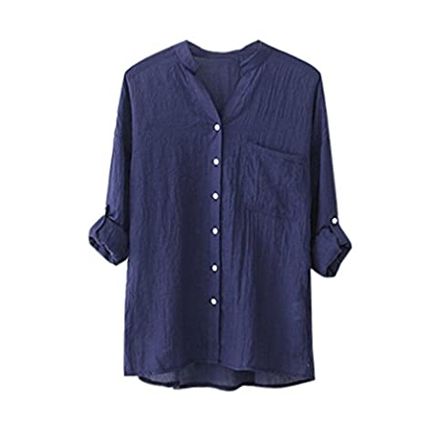 Women Blouse ,Women Cotton Solid Long Sleeve Shirt Casual Loose Blouse Button Down Tops (M, Blue)