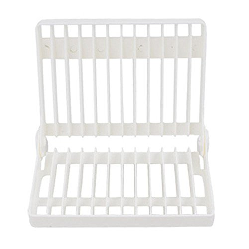AOLVO Pliable Plat Verre Séchage Rack, Plastique Vaisselle de Cuisine Support Tasse Assiette à ustensiles Égouttoir à égouttement étagère (Blanc)