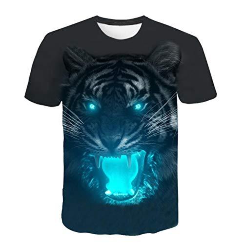 MAYOGO 3D Druck Tshirt Herren Tier Kurzarm 3D Print Bunt T-Shirts Oberteile Frühling Sommer Männer Lässige Mode Round Hals Hemden Tops