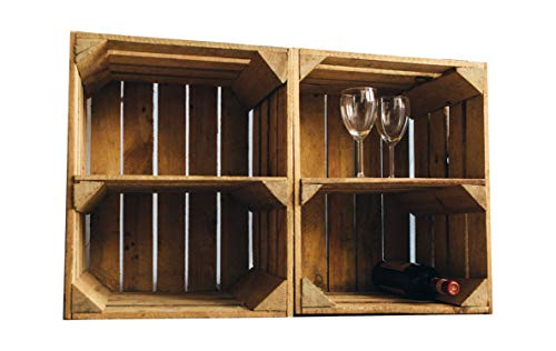 Vintage / used Holzkisten Apfelkisten Obstkisten mit Zwischenbrett quer 50x40x30cm | Ideal als Garagenregal rustikal Wandregal Aufbewahrungsbehälter...
