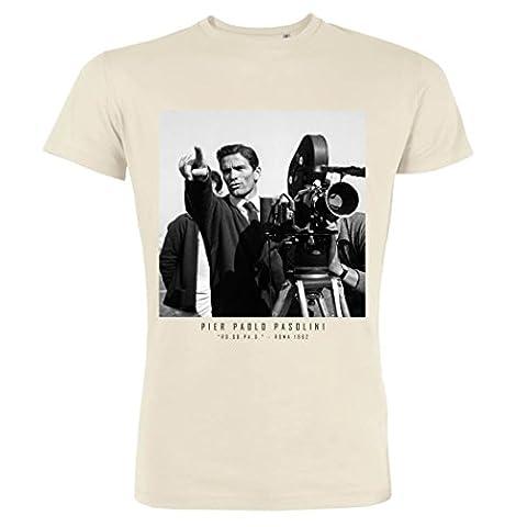 Pushertees - T-shirt homme Vintage White Cartes postales du XXe siècle - les plus belles photos de 900 su coton 18 PASOLINI 1962