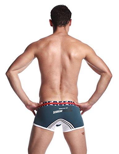 SEOBEAN Herren Low Rise Sexy Trunk Boxer Brief Slip Unterwäsche 2558 Blue Grey