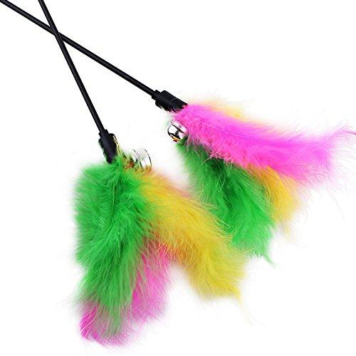 Dealglad® 5pz 65cm lunghezza stelo kitten teaser bacchette cat feather stick giocattolo con suono della campana