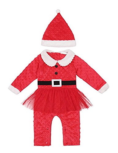 c0121979e Weant Christmas Outfit Set Baby Clothes Newborn Winter Santa Claus Brother  and Sister Outfit Onesie Romper Jumpsuit with Cap (12-18 months, ...