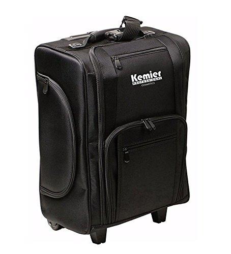 Kemier Make up Koffer , Weiche Zweiseitige Nylon Rollen Mobiler Kosmetik Organizer mit Tasche, Schwarz